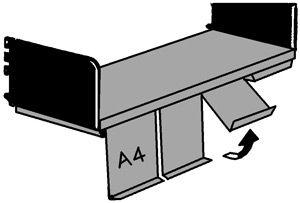Klappenboden 1000x300mm lichtgrau mit 4 Klappen Serie K 70-BV