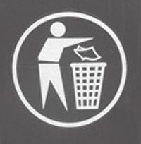 Aufkleber Saubermann, weiß, für Stahl-Abfallbehälter 613.0031. 613.0034.00