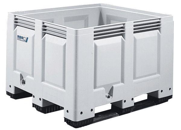 Groß-Stapelbehälter BIG BOX mit 3 Kufen, Inhalt 535L, Wände und Boden geschlossen, Farbe: grau, B120