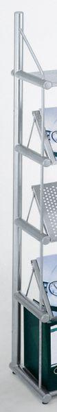 End-Seitenrahmen für Standregal 5 Ordnerhöhen alusilber T300xH1850mm Serie topline