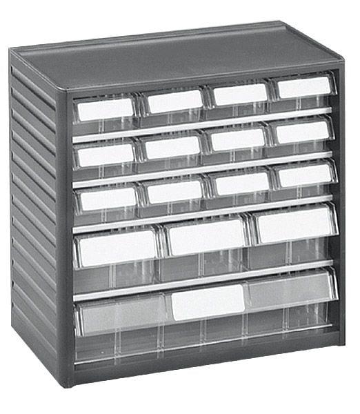 Kleinteilemagazin mit Schubladen 12x01, 3x04, 1x06