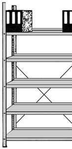 Büro-Regal Serie S25-SX einseitig ohne Abdeckboden