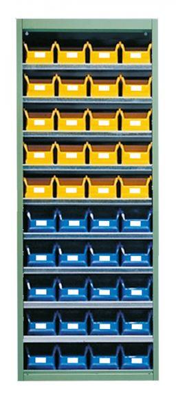 Stahl-Schrankregal mit Kästen 40 x Gr 4