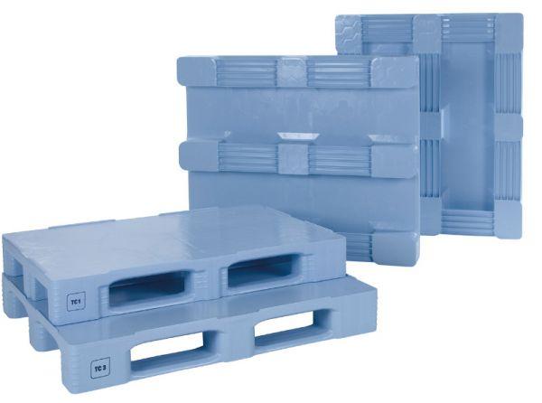 TC3-5-Kunststoff-Palette mit Außenarretierung, 5 Kufen, blau, Tragkraft 1500 kg, B1200xT1000xH160mm
