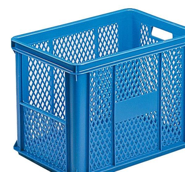 Stapelkasten Typ 1, mit Ausschnitt, Gitterwänden und Gitterboden, blau, 590x385x405, Inhalt 80 Liter