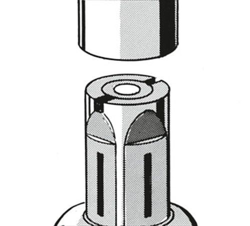 Spreizbefestigung expandierend für Lenkrollen mit Ø125mm für Rundrohr M12