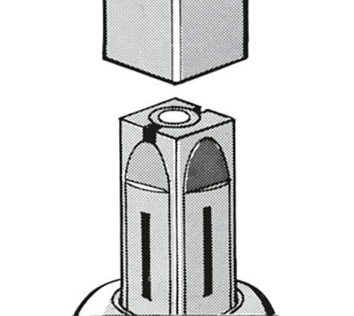 Spreizbefestigung expandierend für Lenkrollen mit Ø75/100mm für Quadratrohr M10