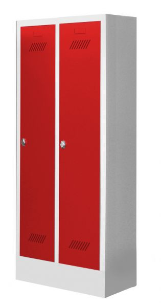 Garderobenschrank für Kindergärten, 2 Abteile, mit Sockel und Drehriegel