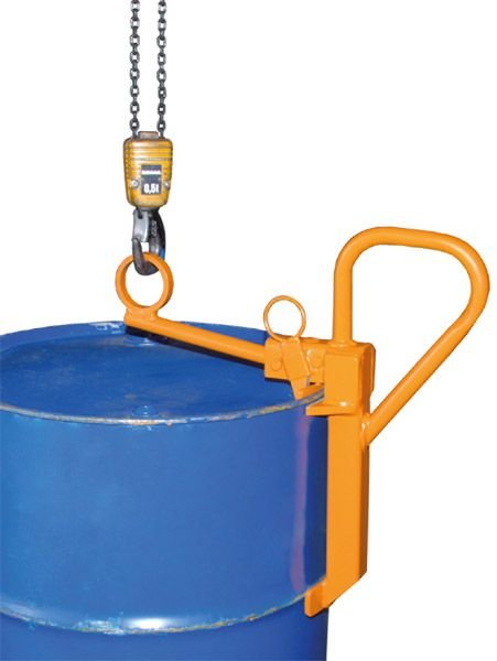 Fassklemme zur Aufnahme von 200-L-Stahl-Spundfässern, Tragkraft 350 kg, gelborange