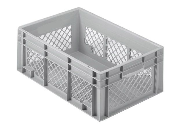 Stapelkasten, 400x300x120mm, 10 Liter, Farbe: grau, Gitterwände / Boden geschlossen, Serie Norm 1