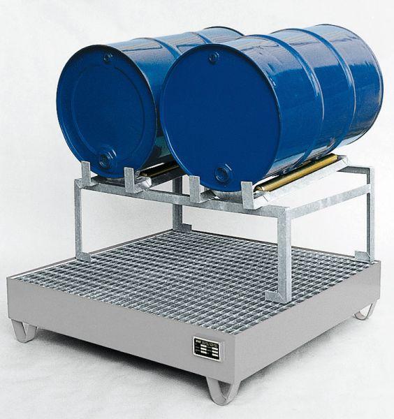 Abfüllstation Typ 1, verzinkt, 1200x1200x760mm, mit Fassauflage für 2 x 200-Liter-Fässer, mit 5° Nei