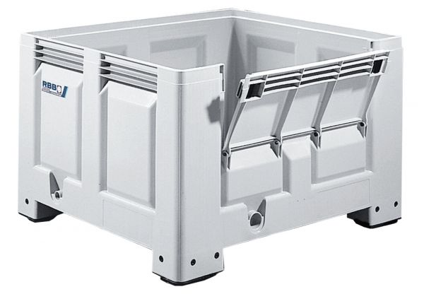 Groß-Stapelbehälter BIG BOX mit 4 Füßen und Frontklappe, 670L, Farbe: grau, B1200xT1000xH760mm