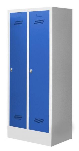 Garderobenschrank für Schulen, 2 Abteile, mit Sockel und Drehriegel