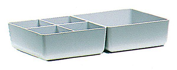 Einsatz-Kasten, 112x102x39mm, Farbe: grau, mit Längs- und Querteilung, für Schubladen-Box
