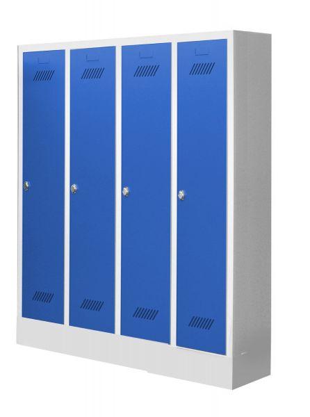 Garderobenschrank für Kindergärten, 4 Abteile, mit Sockel und Drehriegel
