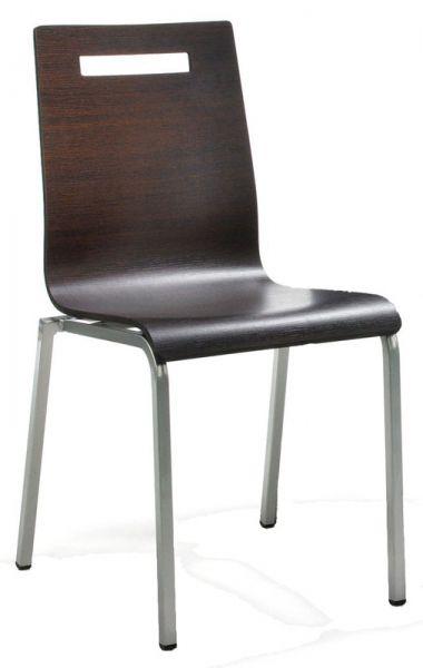 Besucher-Stapelstuhl LIFE, 4-Fuß-Gestell perlsilber Sitzschale Wenge-Laminat-Oberfläche