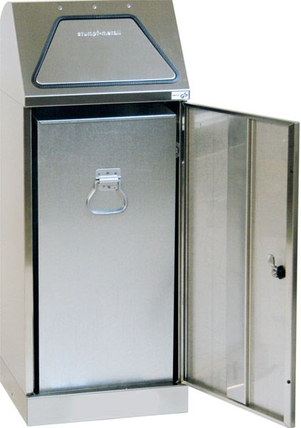 Edelstahl-Wertstoffbehälter, ohne Trethebel, mit Innenbehälter