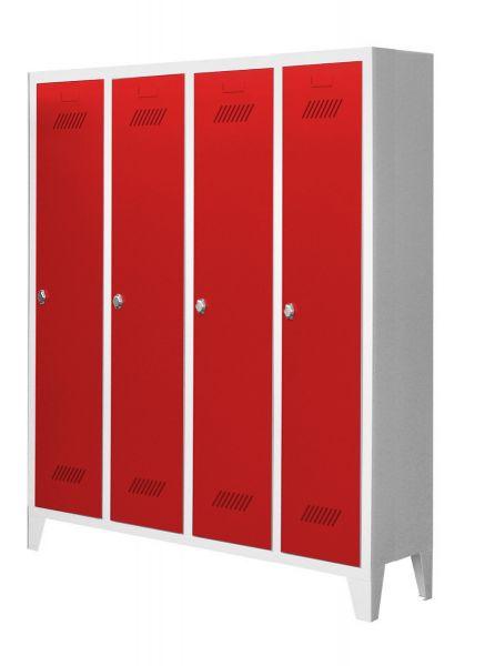 Garderobenschrank für Kindergärten, 4 Abteile, mit Füßen und Drehriegel