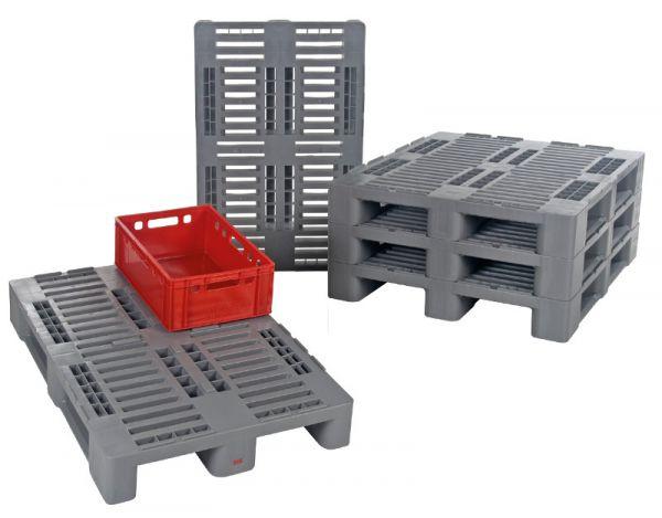 H2-Kunststoff-Palette mit Außenarretierung, Tragkraft 500 kg, B800xT600xH160mm