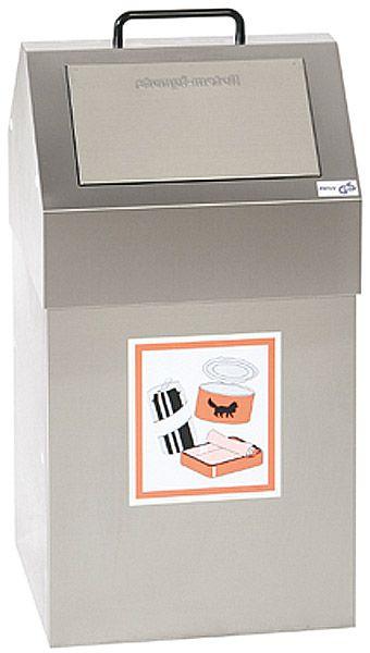 Edelstahl-Wertstoffbehälter Typ 2, für 45 Liter Inhalt