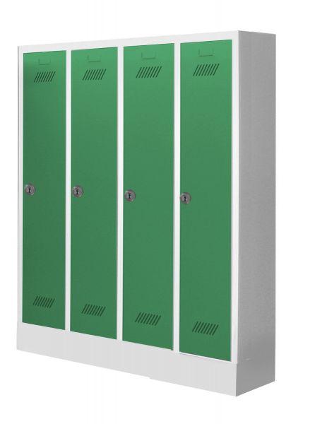 Garderobenschrank für Kindergärten, 4 Abteile, mit Sockel und Zylinderschloss