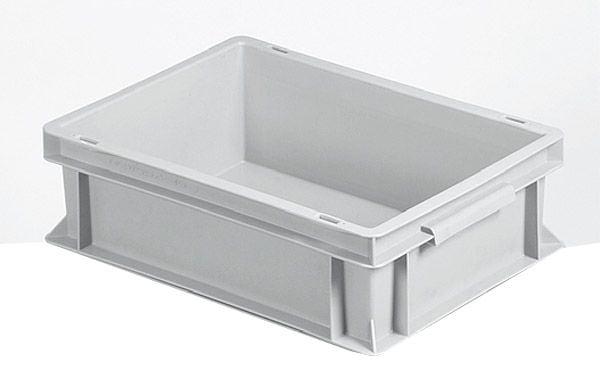 Stapelkasten, 400x300x120mm, 10 Liter, Farbe: grau, Wände und Boden geschlossen, Serie Norm 1