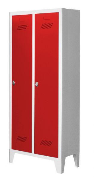 Garderobenschrank für Kindergärten, 2 Abteile, mit Füßen und Drehriegel