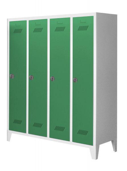 Garderobenschrank für Schulen, 4 Abteile, mit Füßen und Zylinderschloss