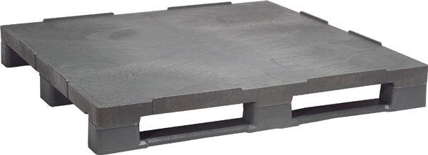 Industrie-Kunststoff-Palette 1200 x 1000 mm, mit 3 Kufen, Material PE-RE grau