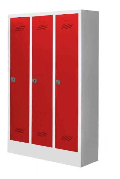 Garderobenschrank für Kindergärten, 3 Abteile, mit Sockel und Zylinderschloss