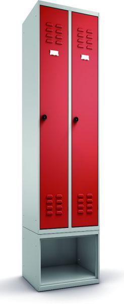 Garderobenschrank 2-teilig, untergebautes Schuhfach