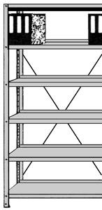 Büro-Regal Serie S25-SX einseitig mit Abdeckboden