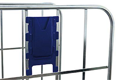 Kunststoff-Kartentasche, dunkelblau, Klemmbefestigung am Seitengitter