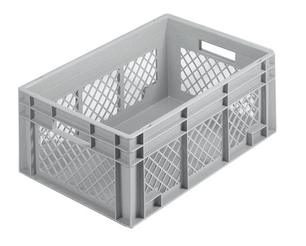 Stapelkasten, 600x400x340mm, 70 Liter, Farbe: grau, Gitterwände / Boden geschlossen, Serie Norm 1