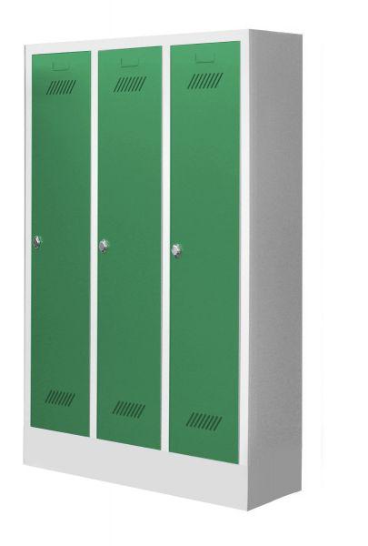 Garderobenschrank für Kindergärten, 3 Abteile, mit Sockel und Drehriegel