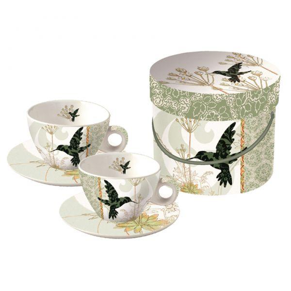 Set:= 2 Cappuccino Tassen Kolibri im Geschenkkarton