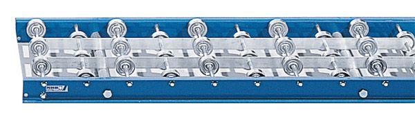 Röllchenbahn mit Stahlröllchen, 450mm breit, 100er Teilung, Stahlrahmen verzinkt