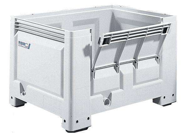 Groß-Stapelbehälter BIG BOX mit 4 Füßen und Frontklappe, 535L, Wände und Boden geschlossen, mit Fron