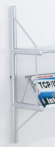 End-Seitenrahmen für Wandregal 2 Ordnerhöhen alusilber T300xH850mm Serie topline