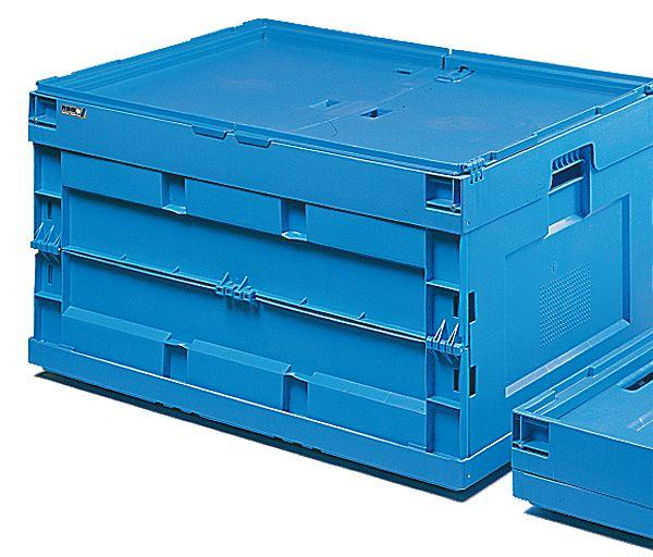 Faltbox mit Klappdeckel, blau, 200 Liter, 600x800x 455mm
