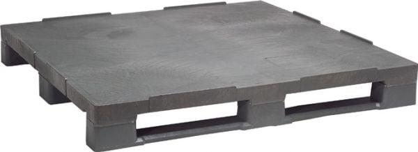 Industrie-Kunststoff-Palette mit Anti-Rutschkante, 1200 x 1000 mm, mit 3 Kufen, Material PE-RE grau