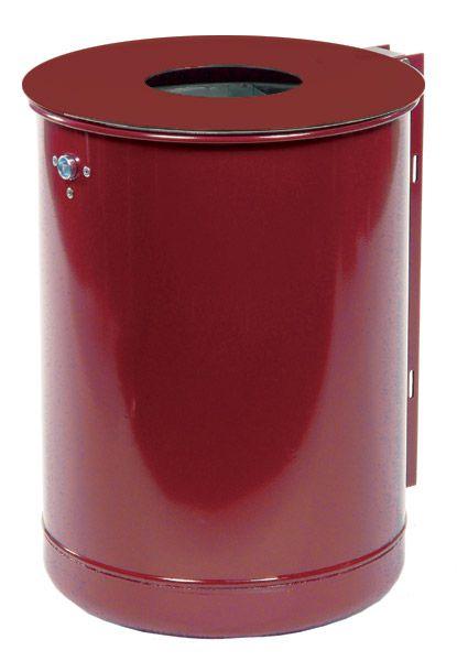 Stahlblech-Abfallbehälter mit Deckelscheibe ohne Ascher, mit Vierkantpfosten
