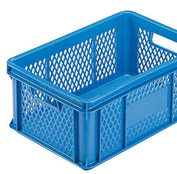 Stapelkasten Typ 2, Gitterwände, geschlossener Boden, blau, 590x385x112mm, Inhalt 20 Liter