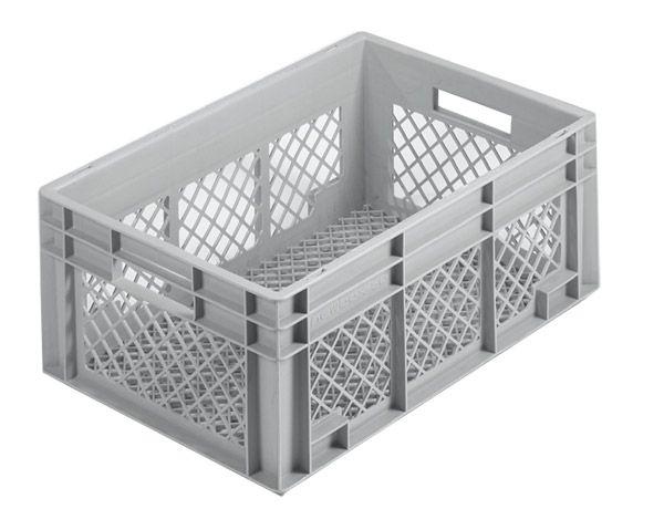Stapelkasten, 600x400x220mm, 42 Liter, Farbe: grau, Gitterwände und Gitterboden, Serie Norm 1