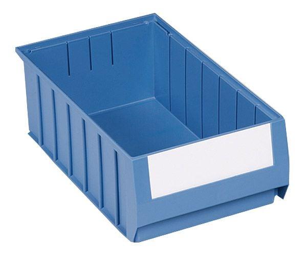 Regalkästen Typ 4-H inkl. Etiketten, blau, je 9,9 l Inhalt, B234 x T400 x H140mm, VE = 6