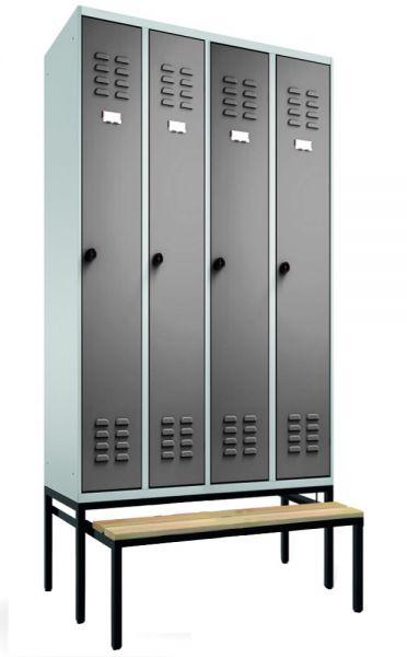 Garderobenschrank 4-teilig, ausziehbare Sitzbank