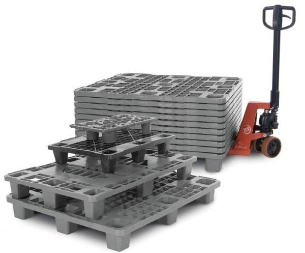 Nestbare Kunststoff-Palette mit Außenarretierung, 9 Füße, Tragkraft 1000kg, B1200xT800xH155mm, multi