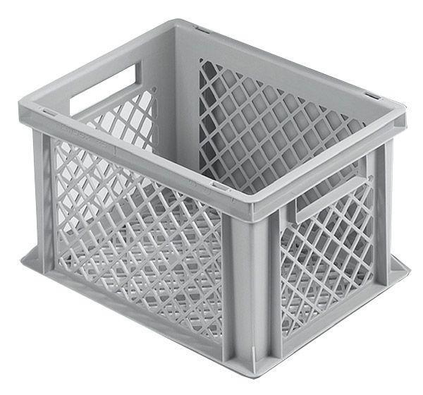 Stapelkasten, 400x300x225mm, 20 Liter, Farbe: grau, Gitterwände und Gitterboden, Serie Norm 1