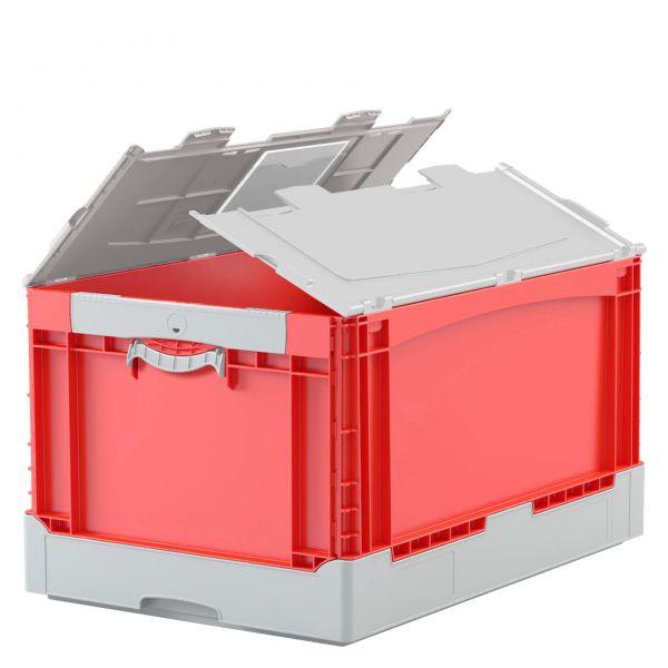 Falt- und Klappboxen EQ mit Rippenboden und anscharniertem, zweiteiligem Klappdeckel