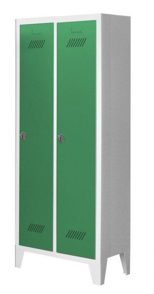 Garderobenschrank für Kindergärten, 2 Abteile, mit Füßen und Zylinderschloss